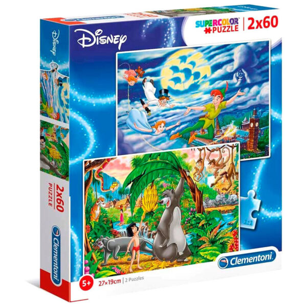 Puzzle Maxi Peter Pan y Libro de la Selva Disney 2x60pzs