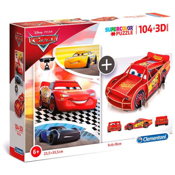 Puzzle 104 + 3D Cars Disney 104pzs