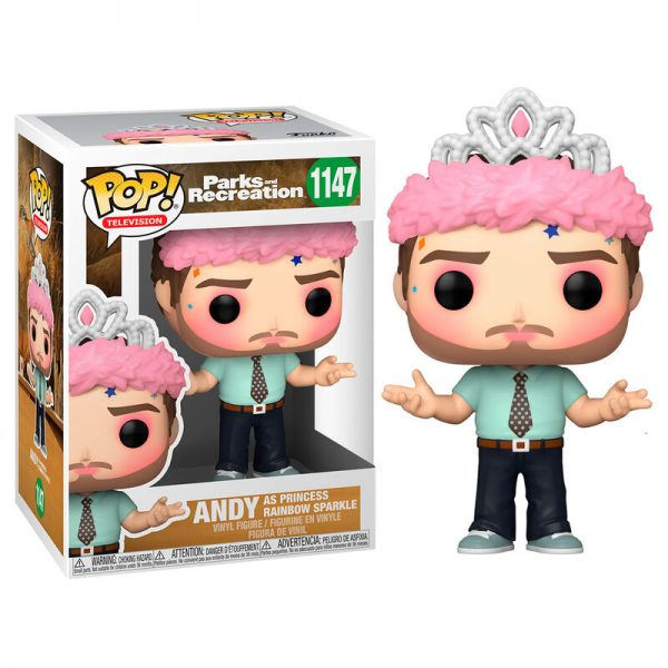 Funko POP Parks and Rec Andy as Princess Rainbow Sparkle